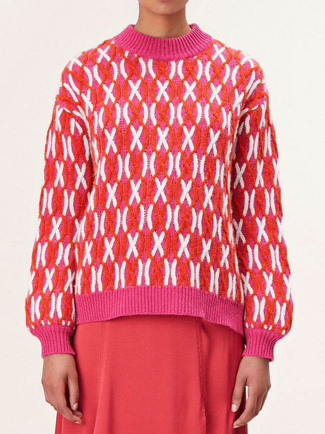 ANDERS CABLE KNIT JUMPER - PINK