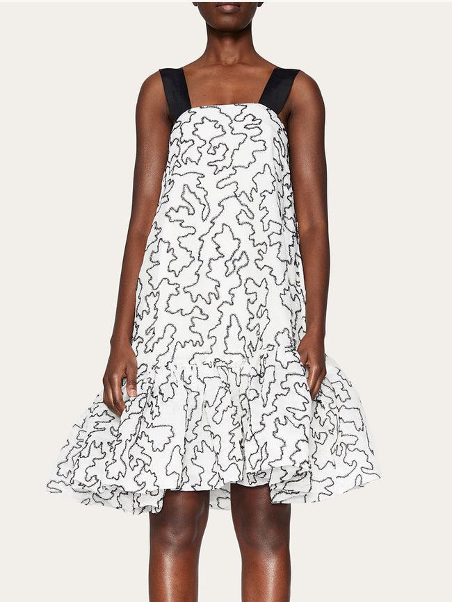 ANETTE LUREX ORGANZA DRESS - BIRCH WHITE