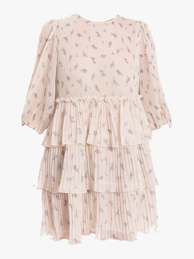 PLEATED GEORGETTE MINI DRESS - EGRET