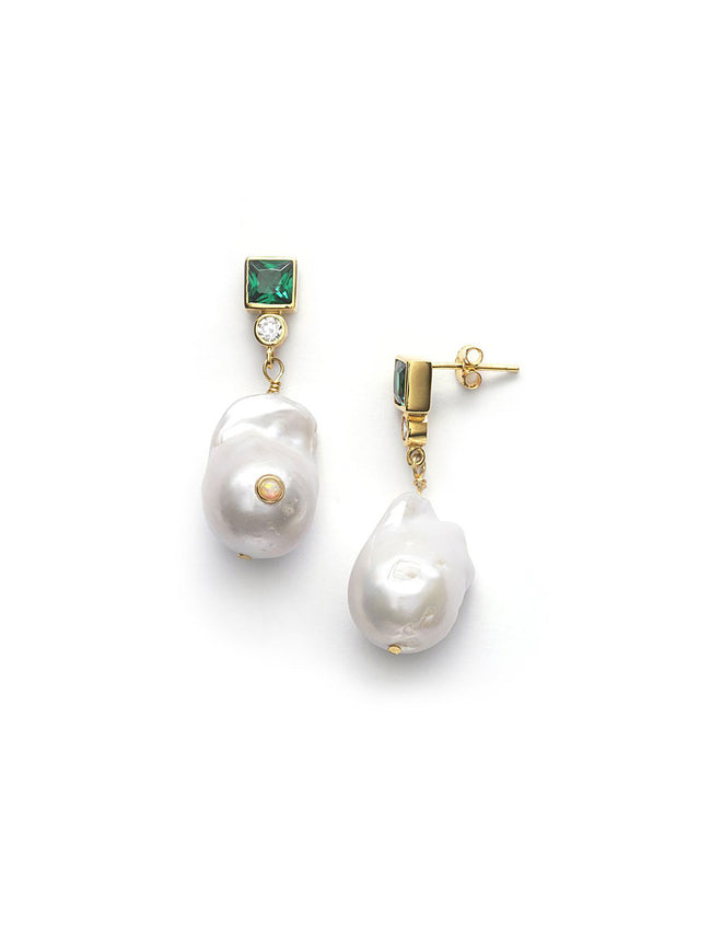 BAROQUE PEARL BLING EARRINGS - POSY GREEN