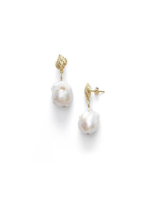 BAROQUE PEARL SHELL EARRINGS - CORAL