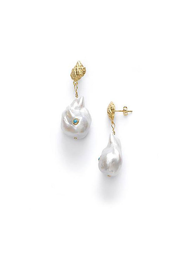 BAROQUE PEARL SHELL EARRINGS - TURQUOISE