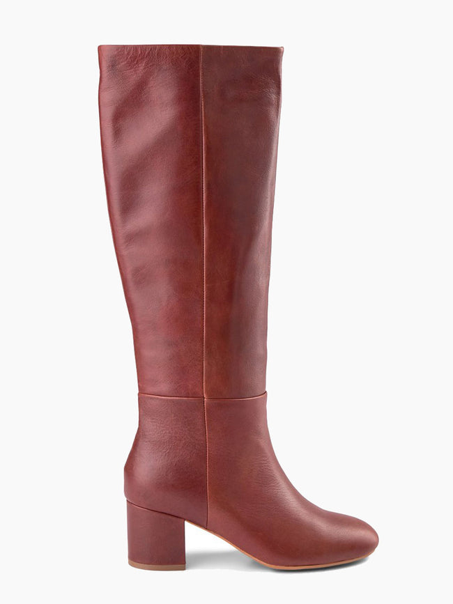 BESS PULL ON LEATHER BOOTS - BROWN