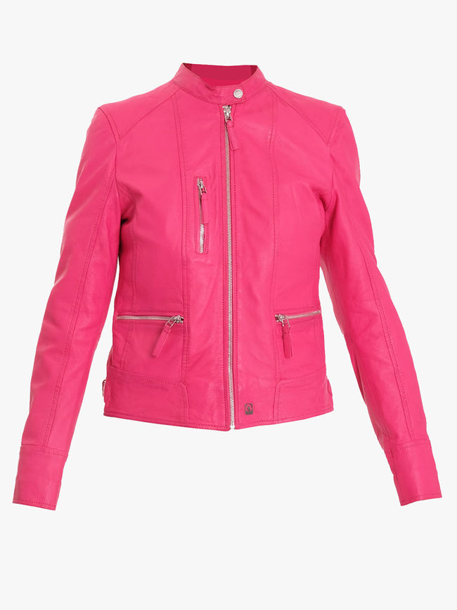 EACH LEATHER BIKER JACKET - FUSCIA