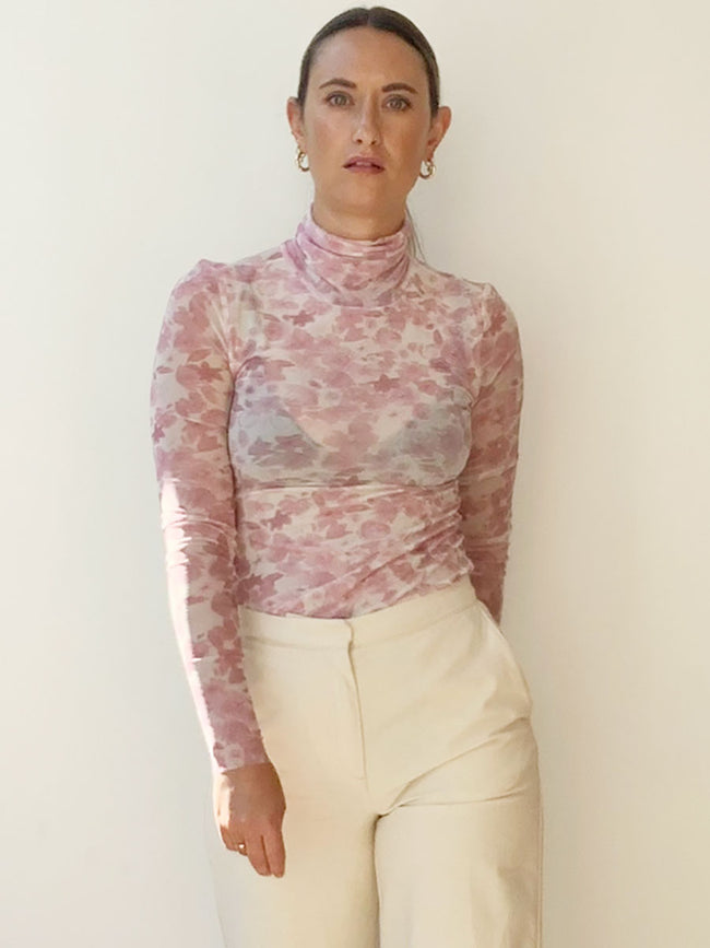 PRINTED MESH ROLL NECK TOP - SWEET LILAC