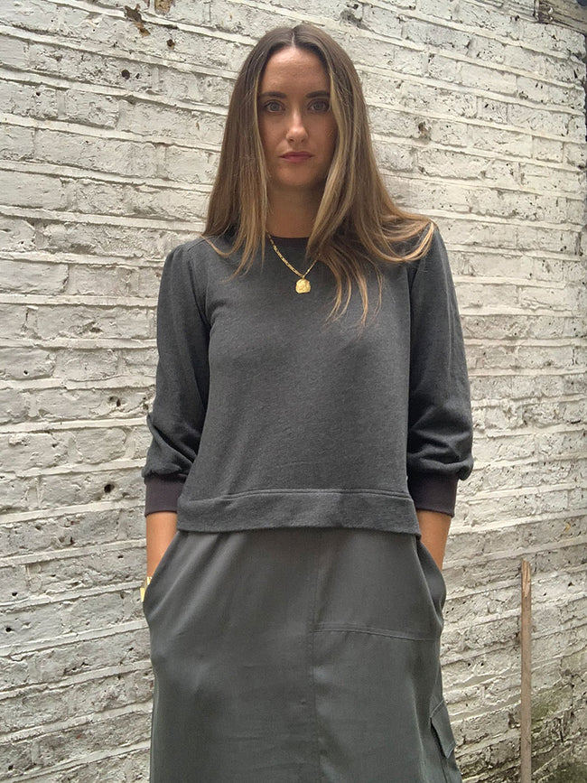 SWIA SWEATSHIRT DRESS - LIGHT GREY MELANGE
