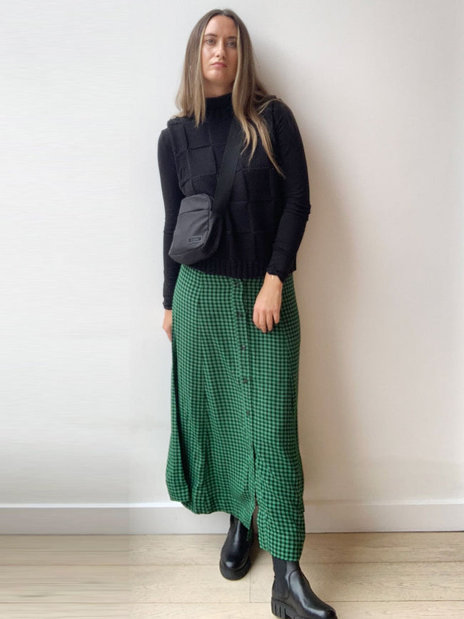 PRINTED CREPE SKIRT - FOLIAGE GREEN