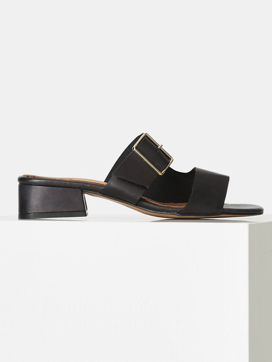CALA BUCKLE SLIDE SANDALS - BLACK