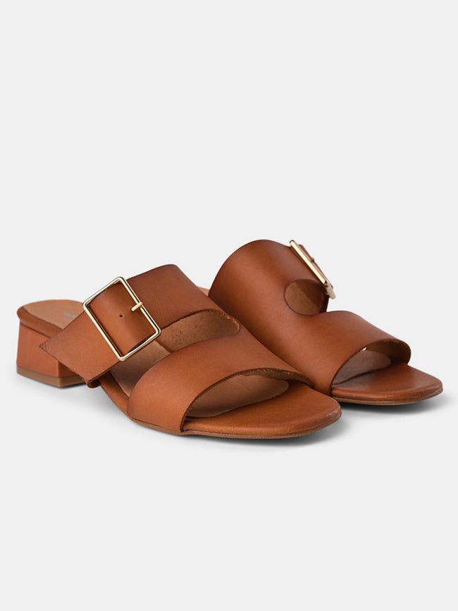 CALA BUCKLE SLIDE SANDALS - TAN