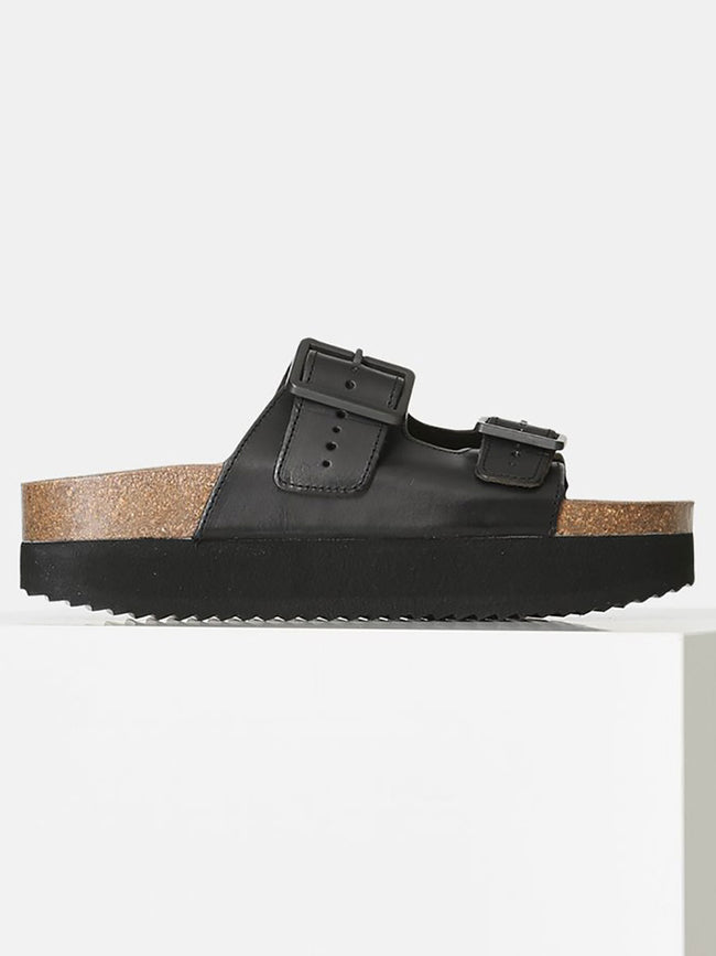 CARA PLATFORM SLIP ON SANDALS - BLACK