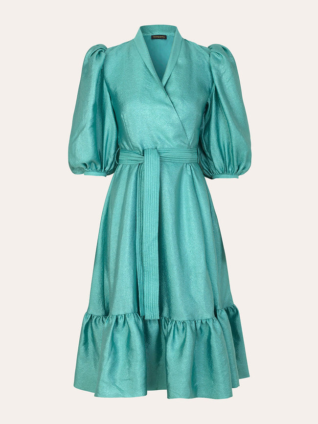 CHINIE TEXTURED WRAP DRESS - AQUA