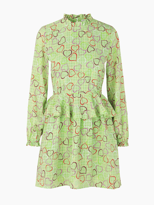 CHRISTINE PEPLUM DRESS - HEARTS GREEN