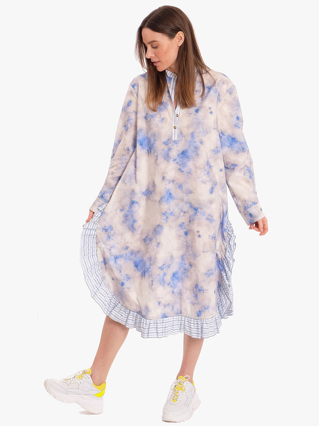 AERIONNA RUFFLED SHIRT DRESS - CLOUD BLUE SKY