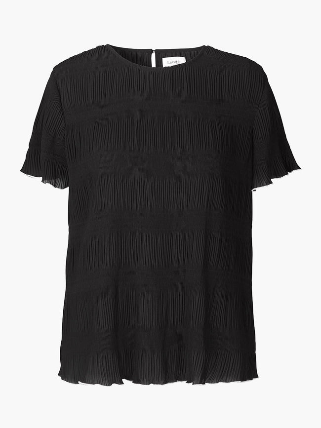 JALINA RUFFLE TRIM BLOUSE - BLACK