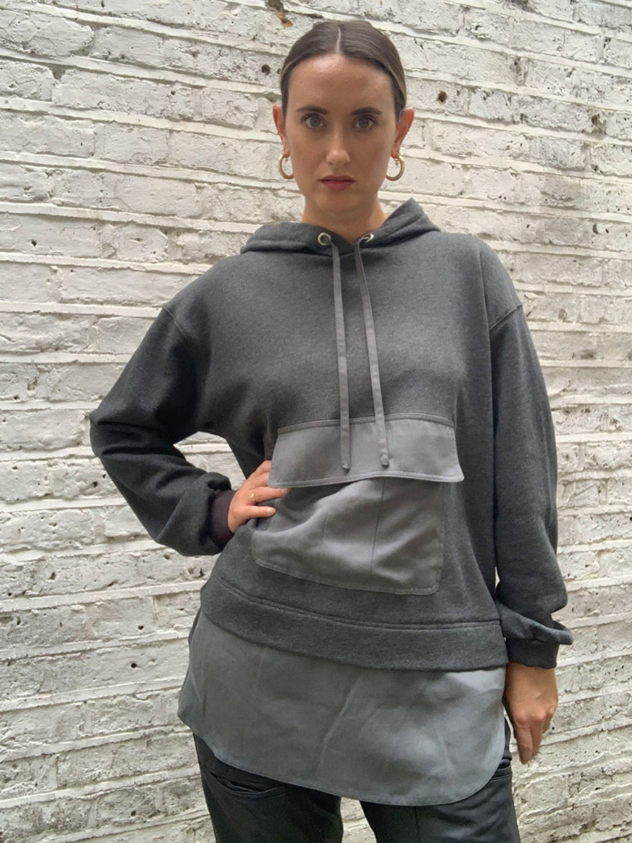 MAGDA POCKET HOODIE - LIGHT GREY MELANGE