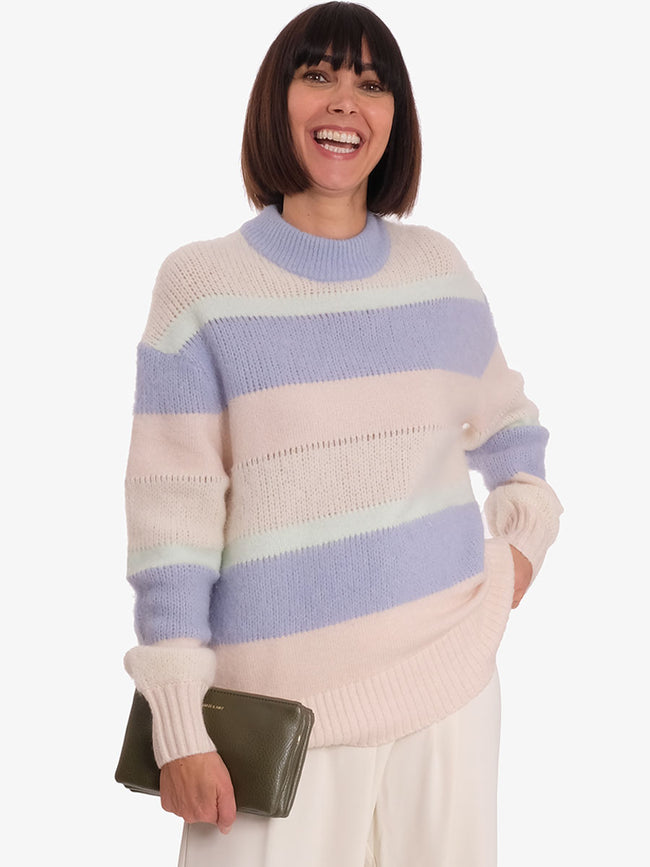 KOREY CREW NECK JUMPER- MULTI STRIPE