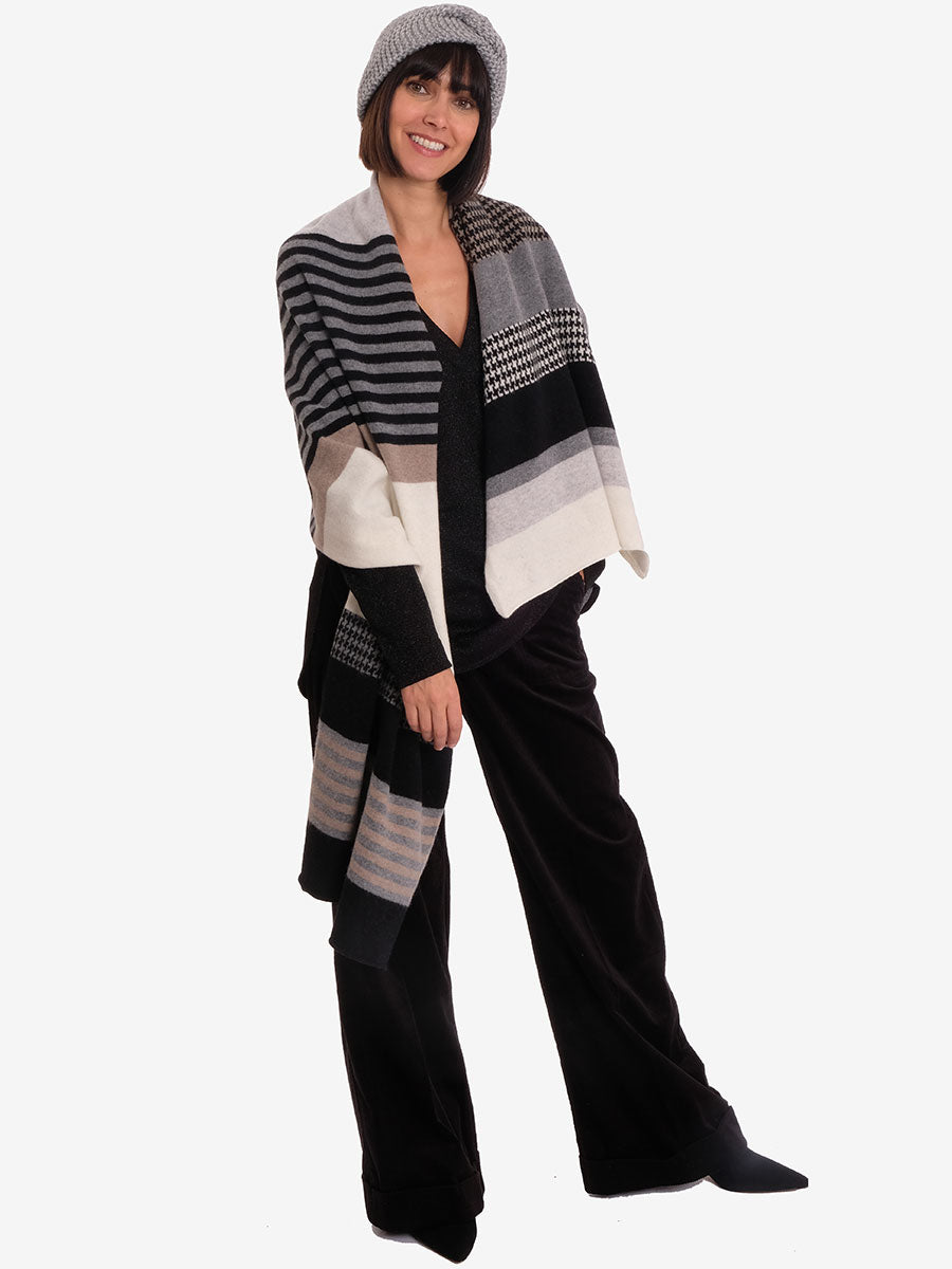 MERINO WOOL HOUNDSTOOTH SCARF - MONO MIX