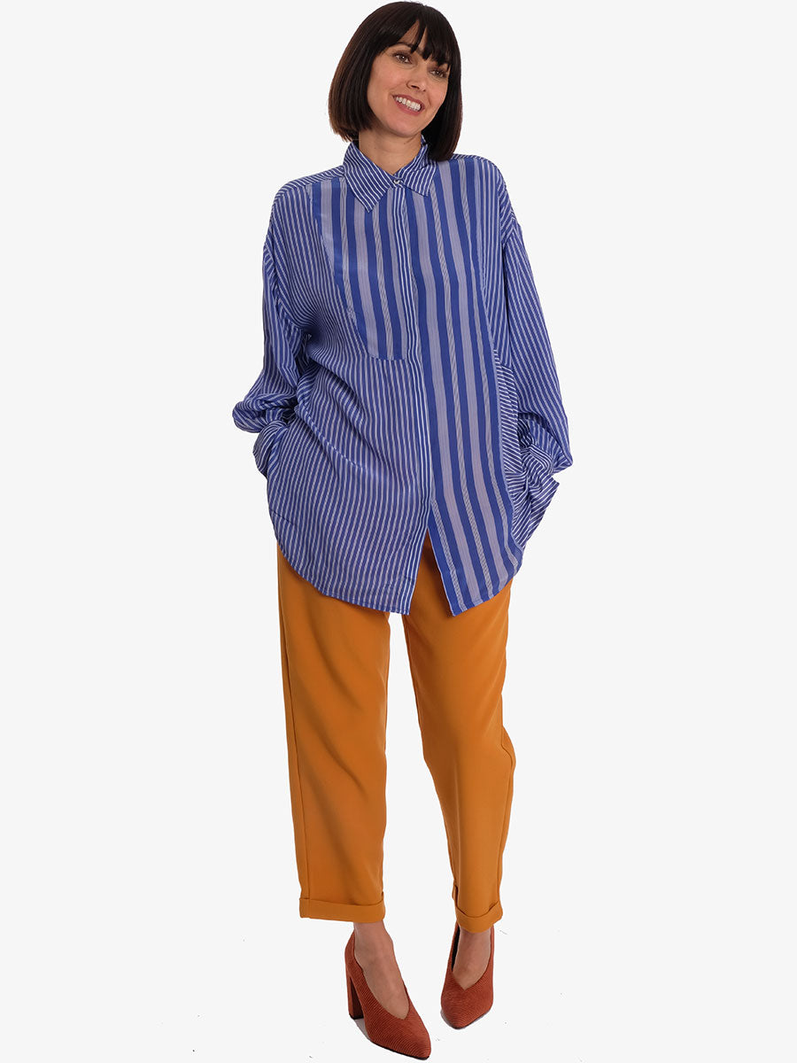 TEO STRIPED SHIRT - STRONG BLUE