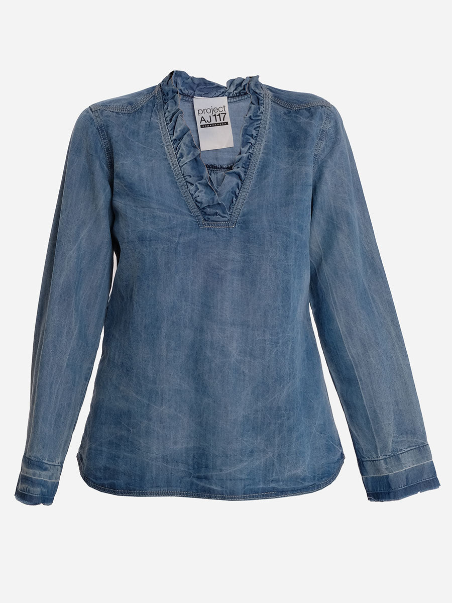 PEACE DENIM BLOUSE - INDIGO