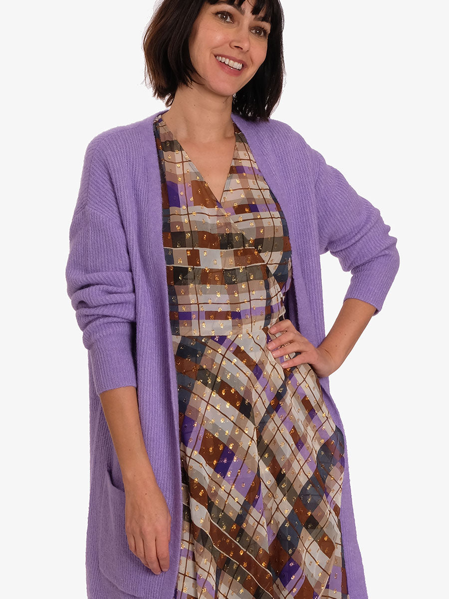 CILLE2 OPEN CARDIGAN - PURPLE