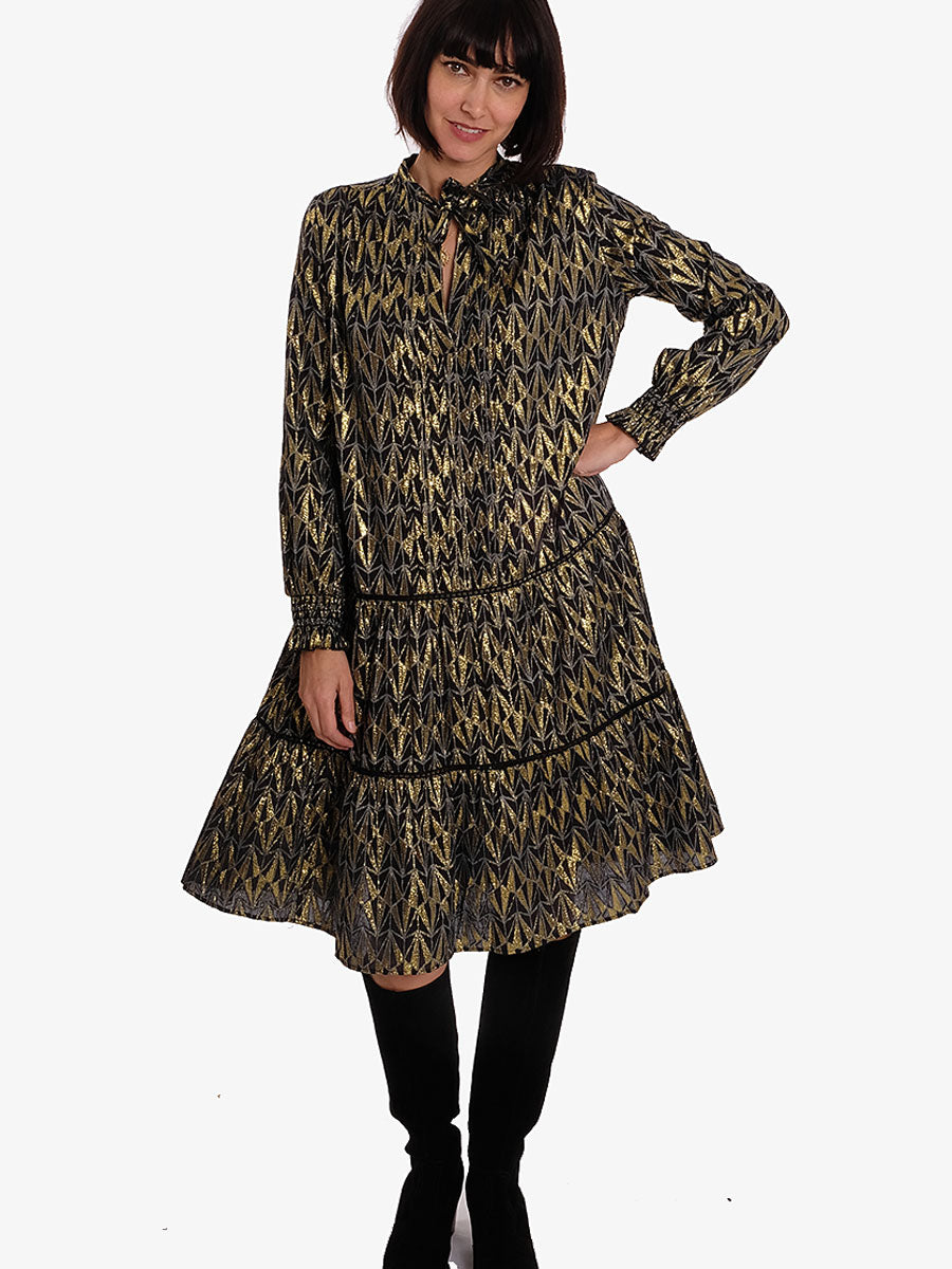LIST DRESS - BLACK-GOLD