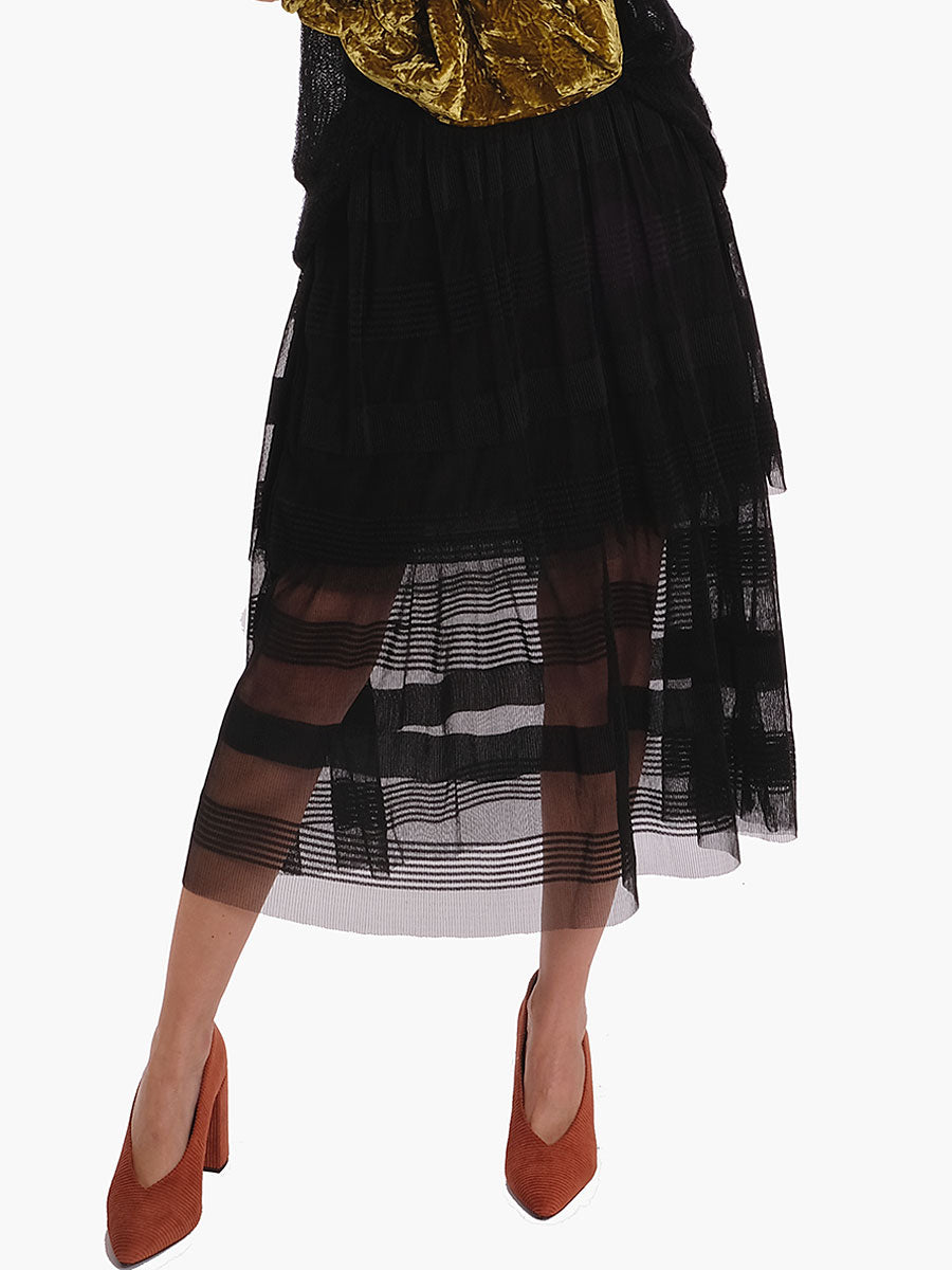 TULLE STRIPE SKIRT - BLACK