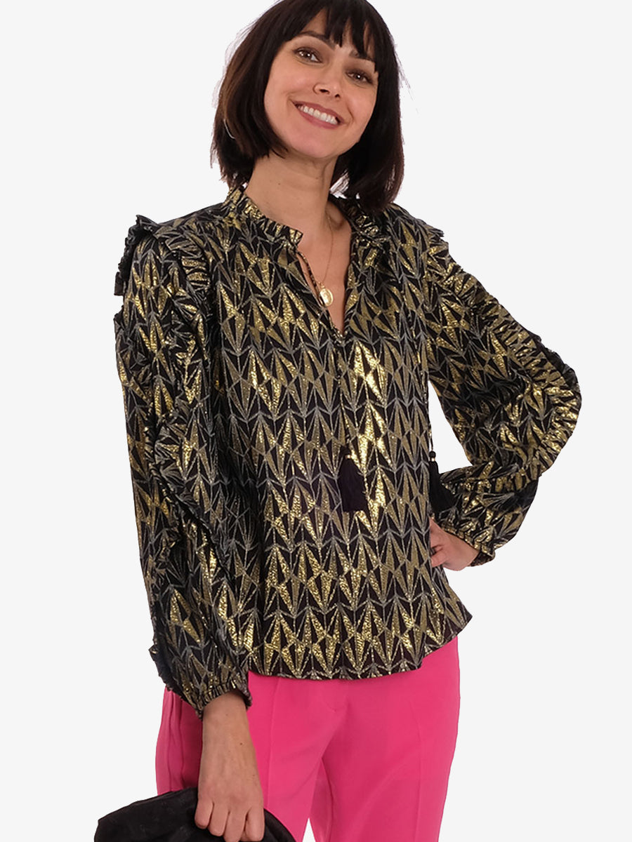 LINEA BLOUSE - BLACK-GOLD
