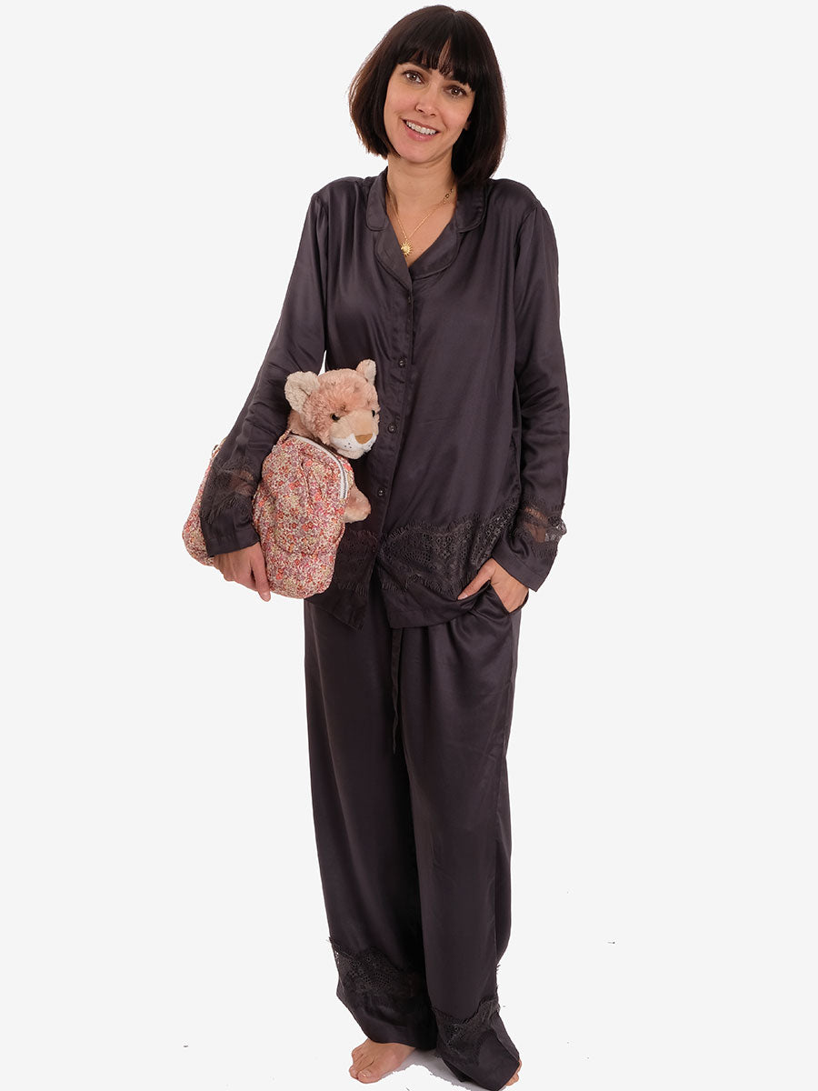 LULU PYJAMA TROUSERS - DARK GREY