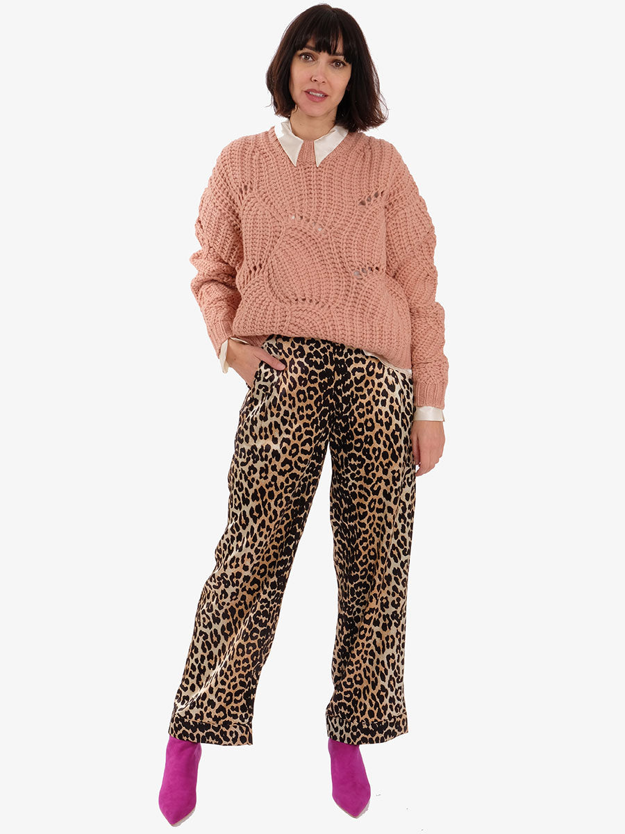 SILK STRETCH SATIN TROUSERS - LEOPARD