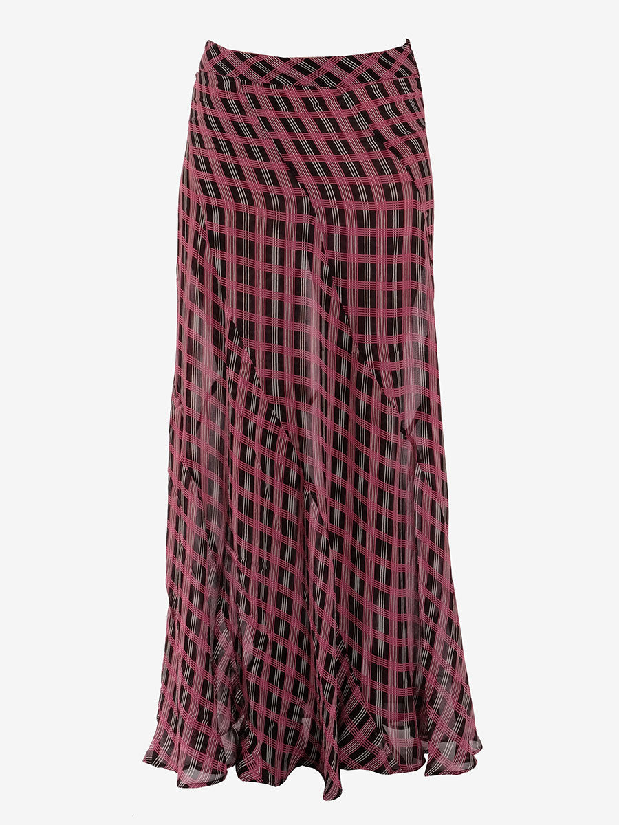 GEORGETTE MAXI SKIRT - FUCHSIA RED