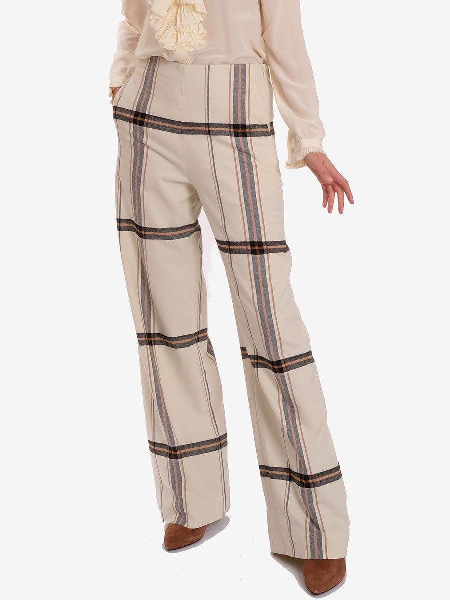 NYO CHECK TROUSERS - OFF WHITE