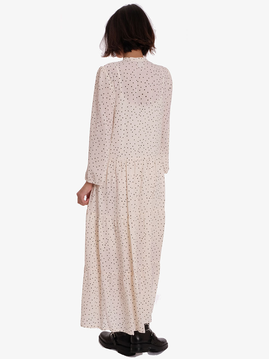 AIA DRESS - CREAM BLACK POLKA
