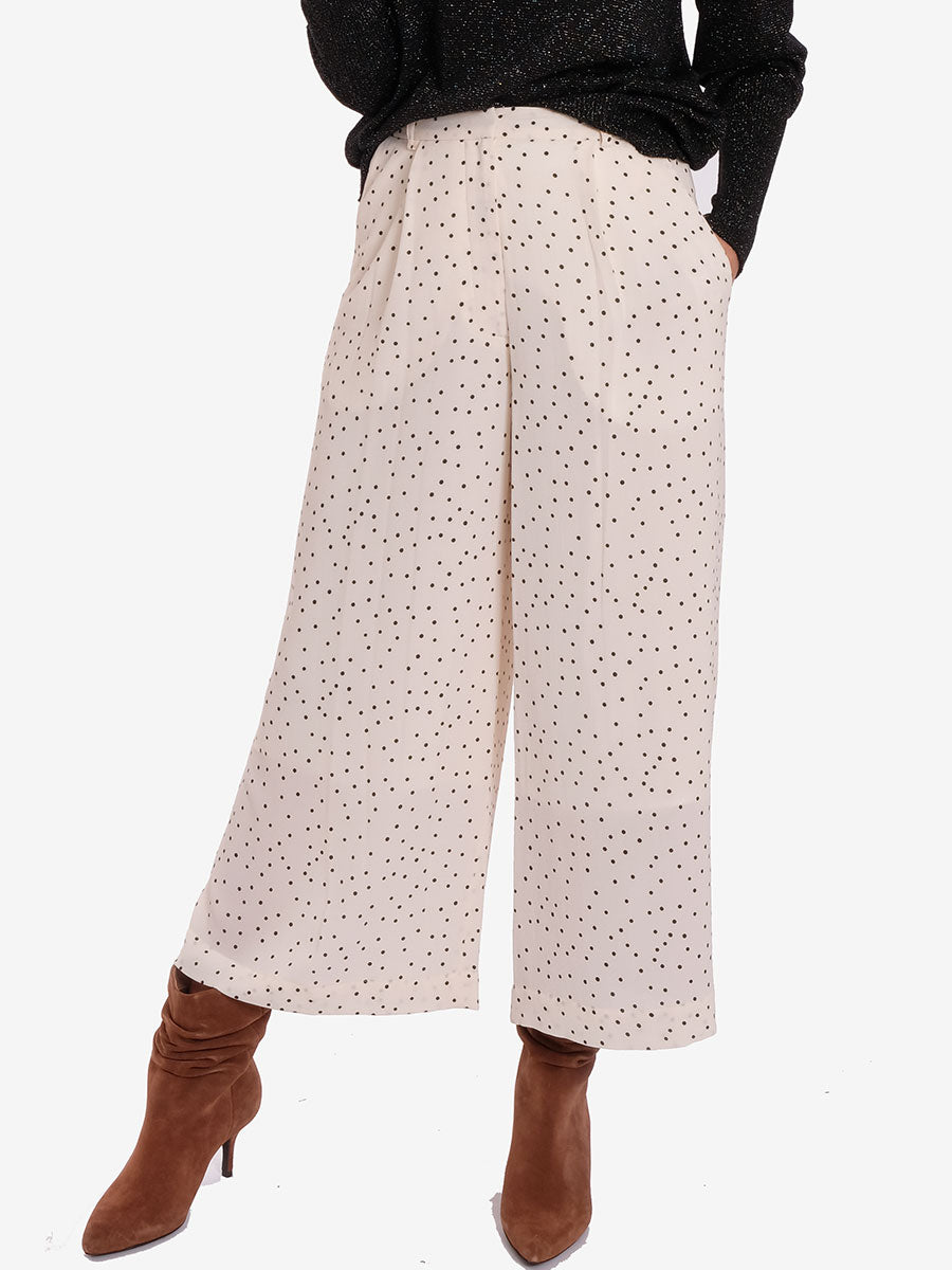 NELLA TROUSERS - CREAM BLACK POLKA