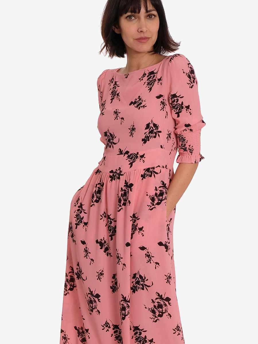 AIDEN DRESS - PINK BLACK ROSEPUFF