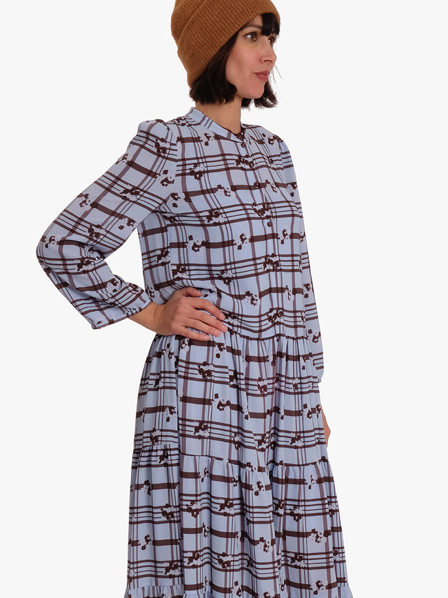 AIA DRESS - BLUE BROWN CHECK
