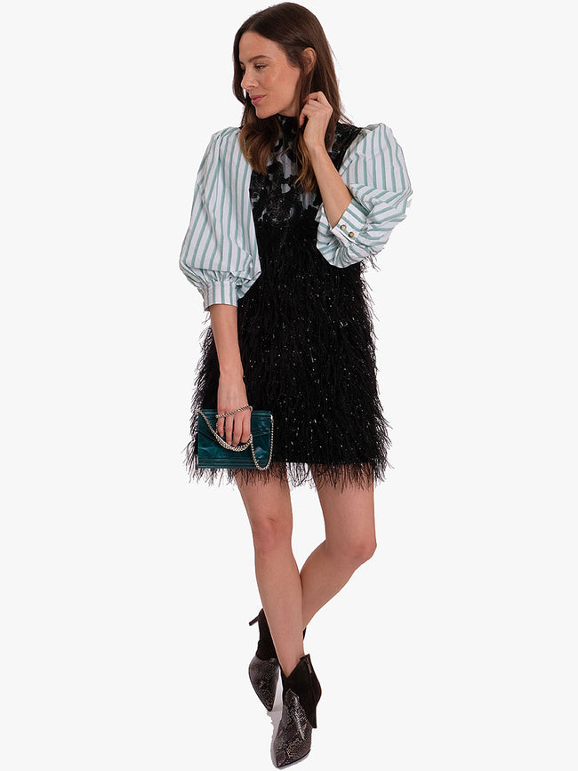 FEATHERY COTTON MINI DRESS - BLACK