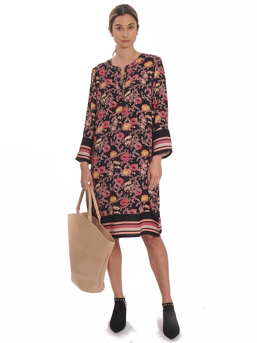 FLORAS CORAL PRINT TUNIC DRESS