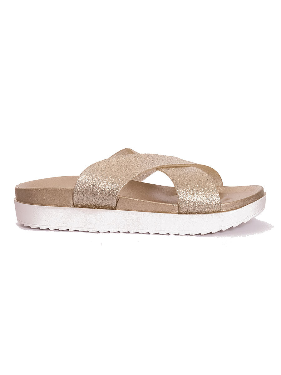 CROSS STRAP BEACH SANDALS GOLD