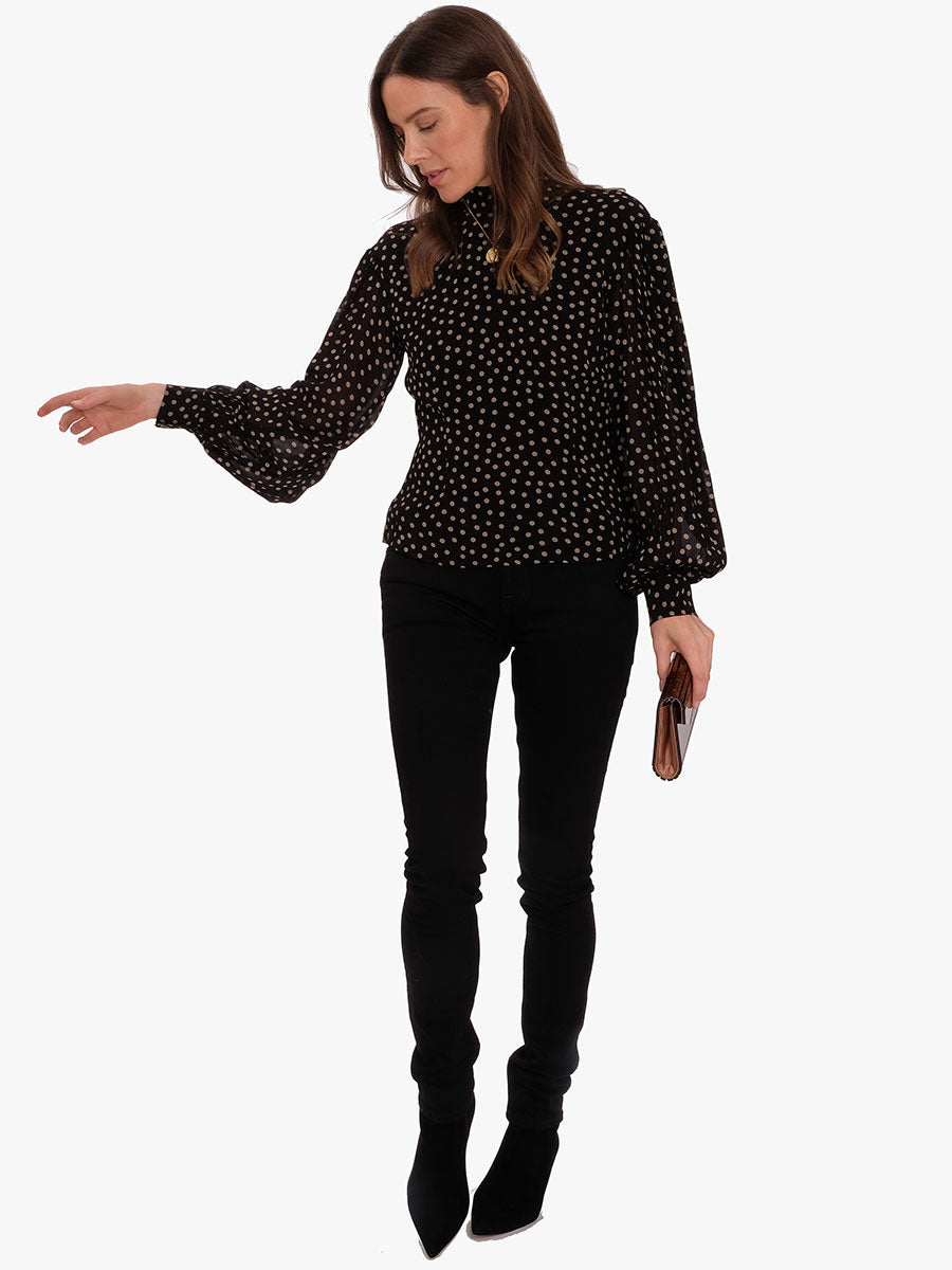 PRINTED GEORGETTE BLOUSE -DOTS