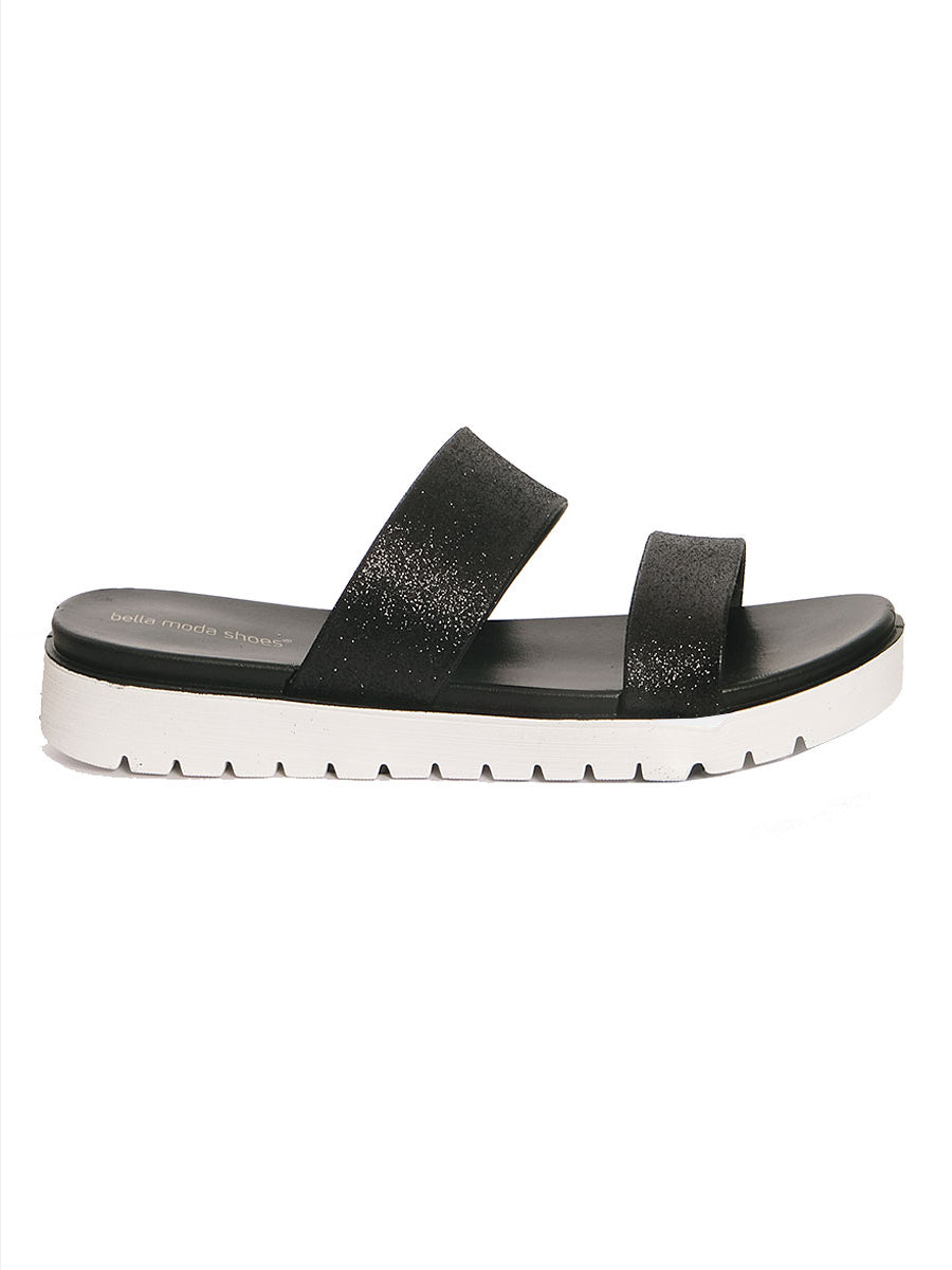 DOUBLE STRAP BEACH SANDALS BLACK