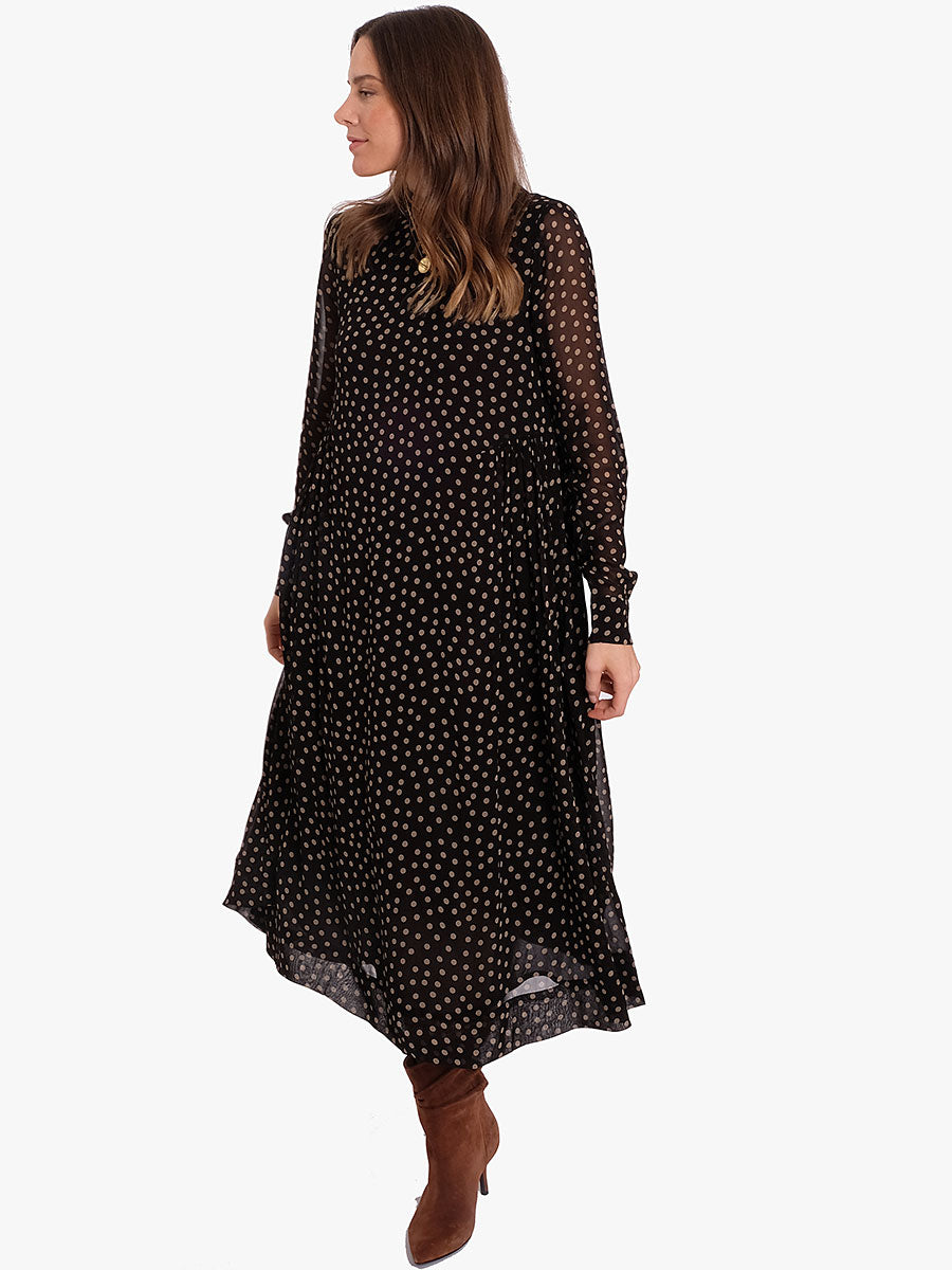 PRINTED GEORGETTE MIDI DRESS -DOTS