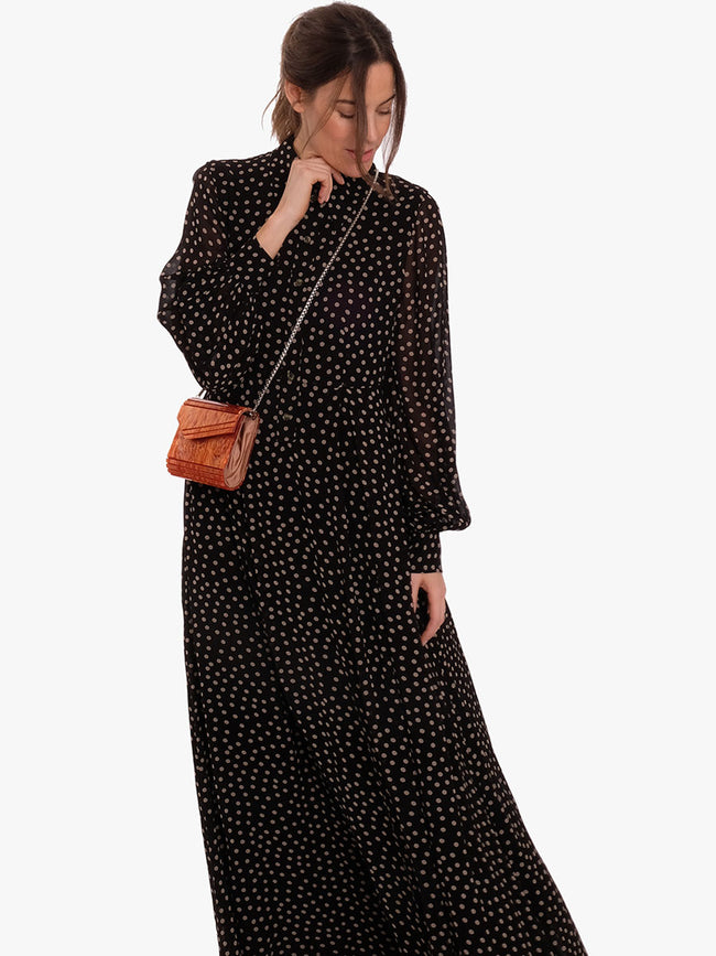 PRINTED GEORGETTE MAXI DRESS - DOTS
