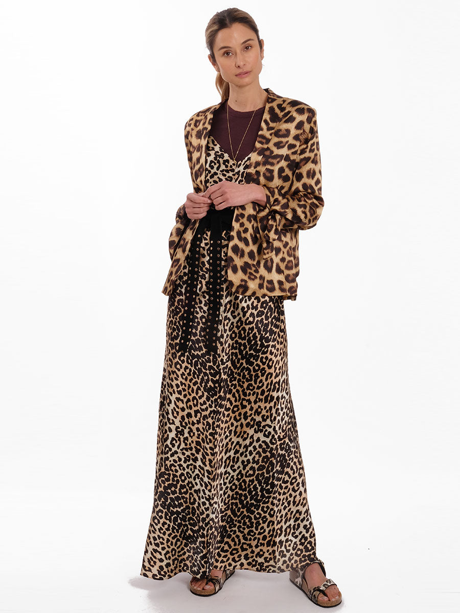 LEOPARD PRINT SILK SLIP DRESS