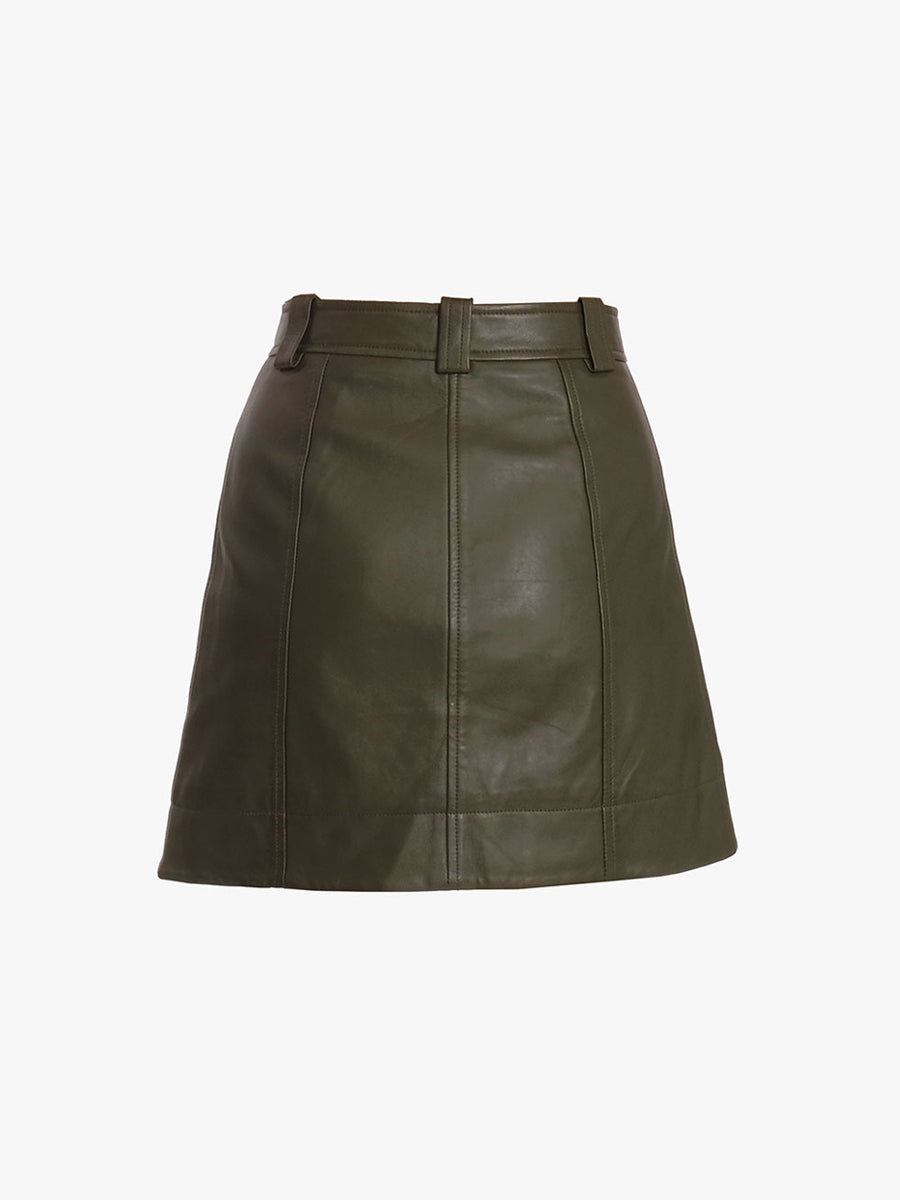 LAMB LEATHER MINI SKIRT - KALAMATA