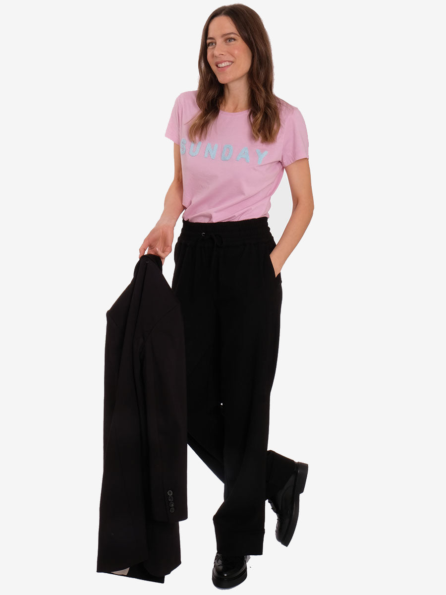 HEAVY CREPE WIDE TROUSERS - BLACK