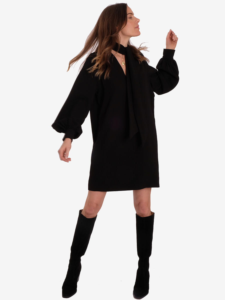 HEAVY CREPE MINI DRESS - BLACK