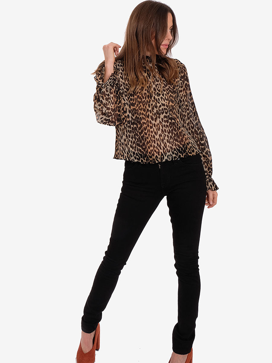 PLEATED GEORGETTE BLOUSE - LEOPARD