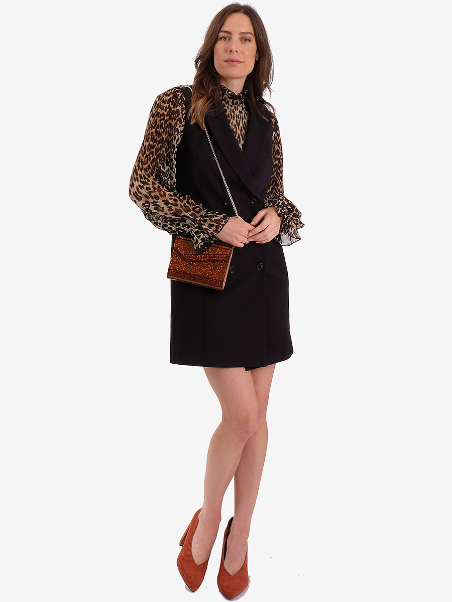 GILLIAN SLEEVELESS BLAZER - BLACK