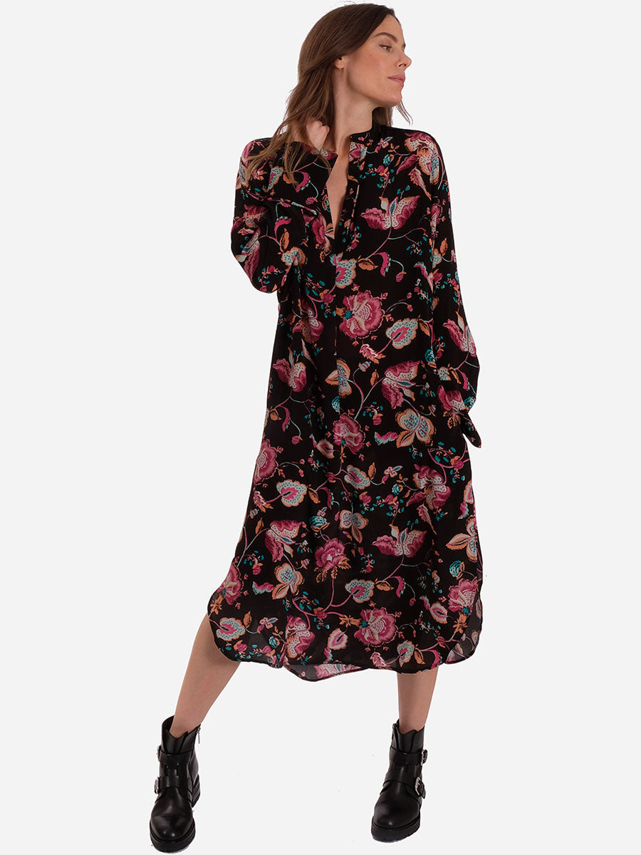 PENO FLORAL DRESS - REAL BLACK