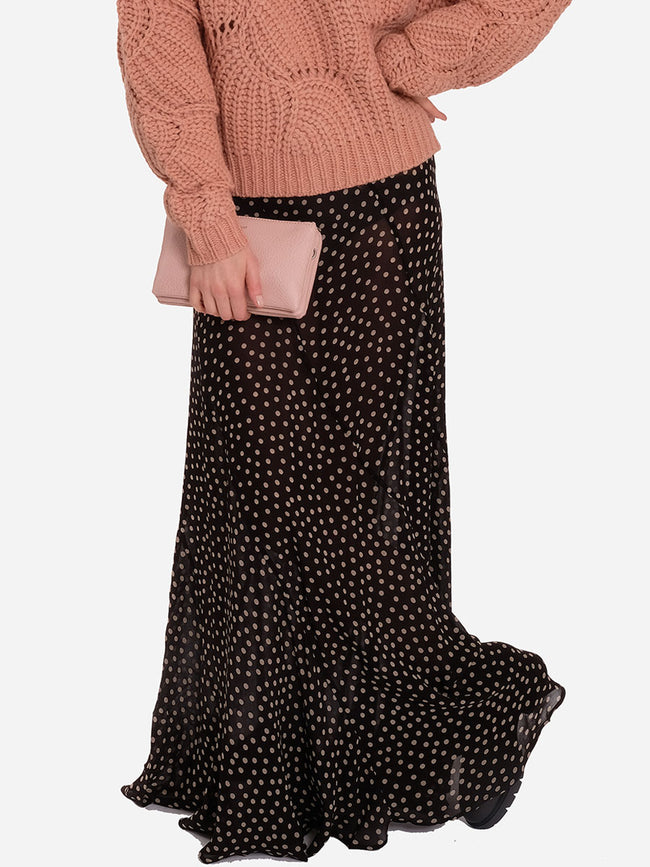 PRINTED GEORGETTE MAXI SKIRT - DOTS
